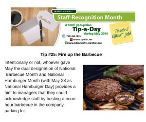 Staff Recognition May Tip 25 Fire up the Barbeque