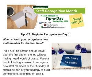 Staff Recognition May Tip 28 Recognize on Day 1