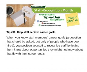Staff Recognition May Tip#10 Career Goals