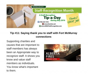 Staff Recognition May Tip#11 Supporting charities