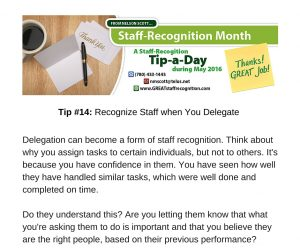 Staff Recognition May Tip#14 Time to Pursue a Special Project