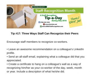 Staff Recognition May Tip#17 Three Ways Staff Can Recognize their Peers