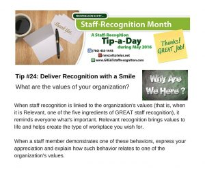 Staff Recognition May Tip#24 Deliver Recognition with a Smile