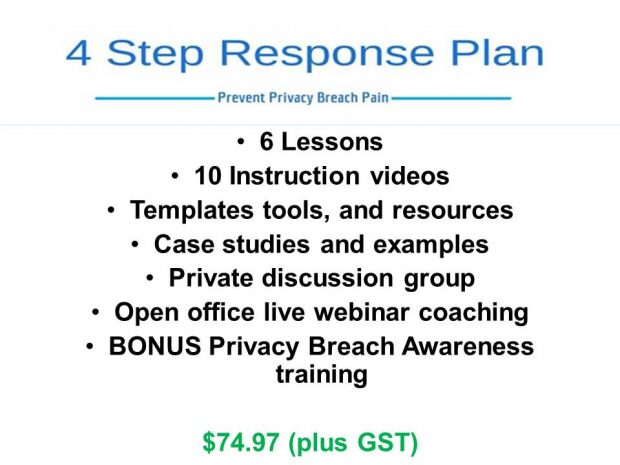 Privacy Breach 4 Step Response Plan Purchase